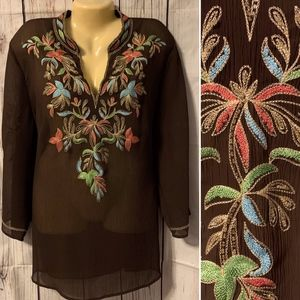 DRESSBARN TOP 18/20 1X BROWN SHEER EMBROIDERY